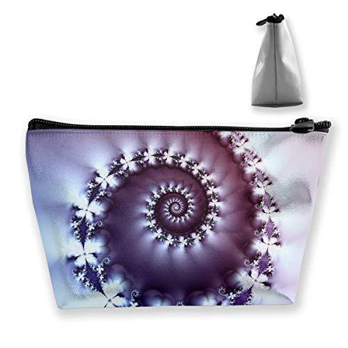 Makeup Bag Trapezoidal Storage Bag Helix Purple Ribbed Portable Cosmetic Bag Ladies Mobile Travel Bag