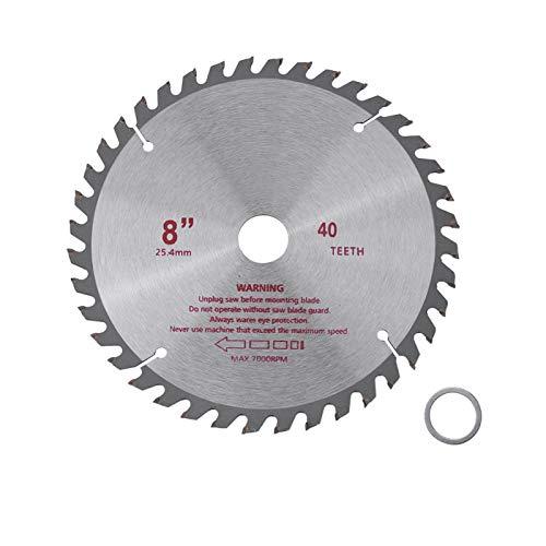Disco de corte de madera-8 pulgadas 40T dientes de carburo cementado hoja circular herramienta de corte de madera diámetro de orificio 25,4 mm