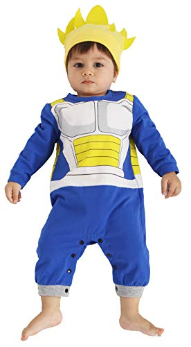 Bebkuebe Vegeta Outfit Baby Costume, Cute Infant Toddler Onesie Cool Newborn Goku Cosplay Hooded Romper Cartoon Pajamas Clothes (Blue, 12-24 Months)
