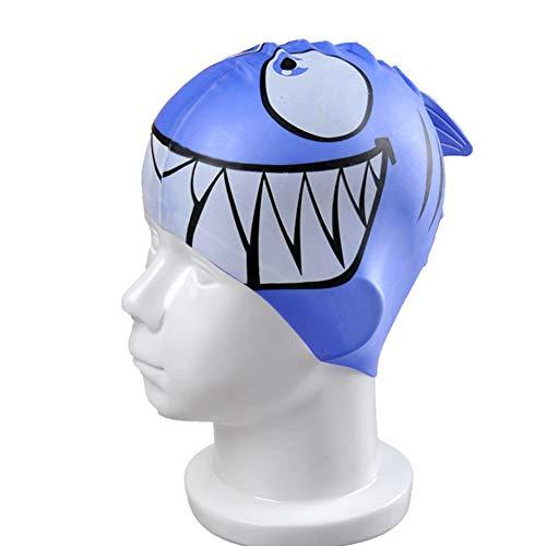 Ndier cuffia da nuoto per bambini, ragazzi e ragazze, Squalo Blu, a forma di pesciolino Cartoon Cuffia, cuffia cuffia in silicone, a forma di pesce