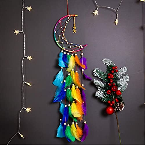 KILYFET Fairy Dream Catcher,Handmade Moon Stars Dream Catcher with Colorful Feathers,Handmade Dream Catchers for Bedroom Wall Hanging Decorations Ornaments Craft Gift