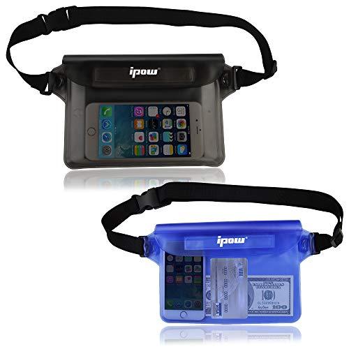 IPOW [2 PCS] - Riñonera impermeable acuatica para iPhone, teléfono Móvil, Cámara, iPad, Dinero, Documentos, Protección contra el Agua (Negra + Azul)
