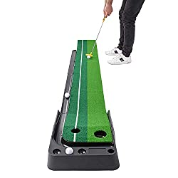 PORTABLE & COMPACT GOLF MAT— Practice golf from the comfort of your home, office, backyard, or anywhere else with our putting green. Simply open the indoor putting mat & you have a fully functional golfing area! LIFELIKE TURF & EXTENDED LENGTH— Our g...