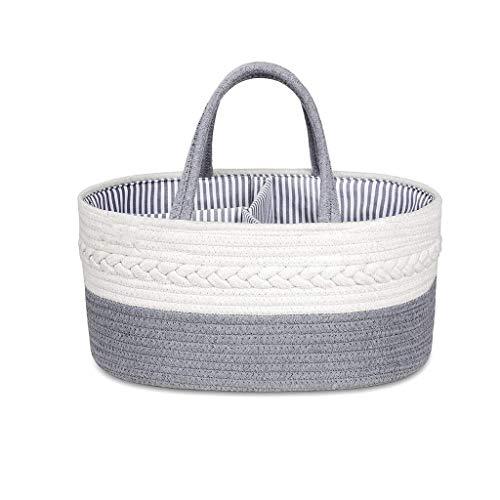 JJZXT Baby Diaper Caddy Organizer - Cuerda Elegante Cuerda de Almacenamiento Casón de algodón Canasta de Almacenamiento de pañales portátiles