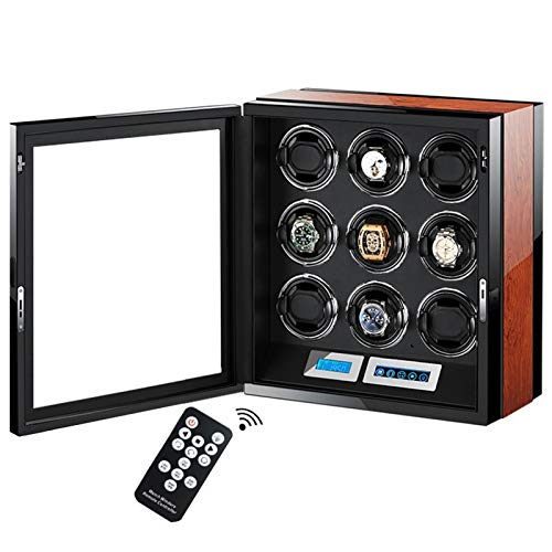 LJP Recogedor automático de reloj – devanadera de reloj de madera con motor Mabuchi y pantalla LCD táctil inteligente 100% hecha a mano, 9+0,
