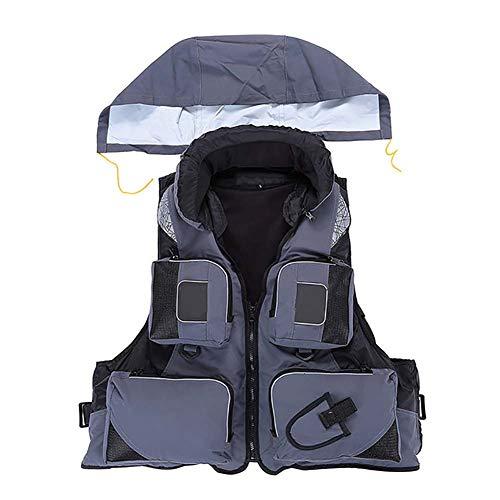 W&TT Schwimmwesten für Erwachsene Verstellbare Schnorchelweste mit Navigation, Last 110 kg Wassersport Reflective Float Safety Vest zum Schwimmen Kajakfahren Surfen Rafting Rescue,Grau,L