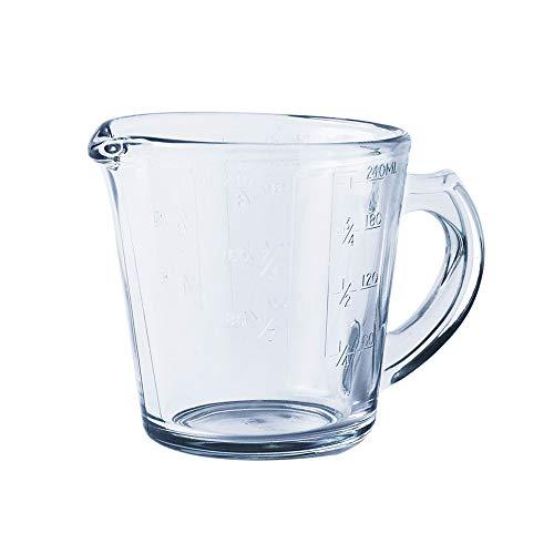 HARVESTFLY Messbecher aus Glas 240ml, ML, Cup und OZ 3 Waagen, Perfekt zum Backen und Kochen, Measuring Cup, Messkanne (240ml)
