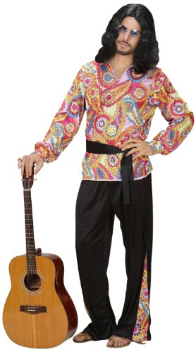 Widmann 7620Y - Kostüm Hippie Dude, Shirt, Hose und Gürtel, Flower Power, Verkleidung, Karneval, Mottoparty