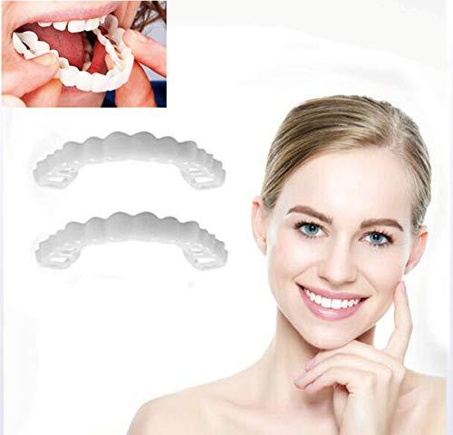 Snap On Smile dientes instantáneos que blanquean los dientes cosméticos, cuidado de la dentadura dental (dientes superiores + dientes superiores)