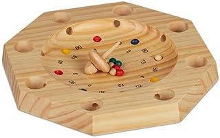 Relaxdays, 3x28 cm Ruleta de Madera Tirolesa, para niños y Adultos, Marrón Natural