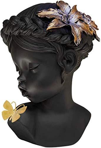 kglkb Escultura Decorativa Salon,Negro Lindo Ángel Chica con Mariposas Escultura Adornos De Resina Hogar Decoración De Escritorio Amor Y Regalo De La Suerte