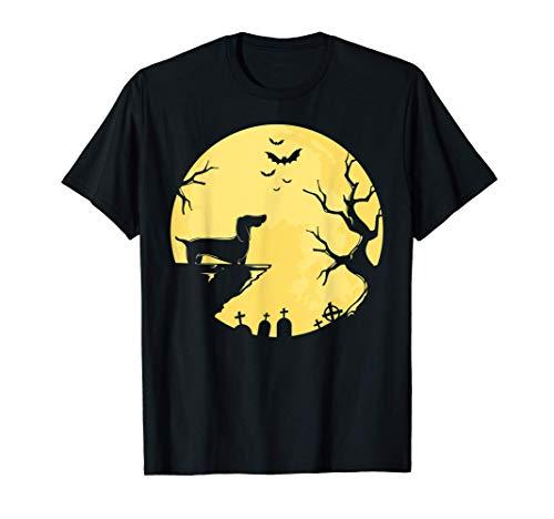 Dachshund Moon Halloween Viena Perro Mascota Cachorro Animal Camiseta