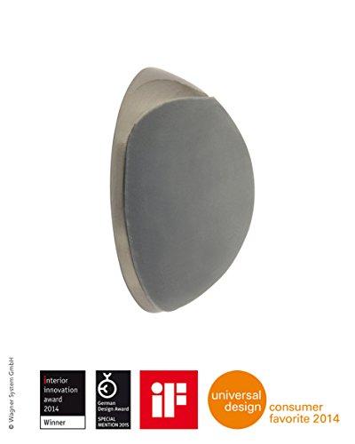 WAGNER Design-Wand-Türstopper - Screw OR Glue/Schrauben oder Kleben - Metall gebürstet, Edelstahloptik, thermoplastischer Kautschuk, grau, Durchmesser Ø 38 x 16 mm, Designpreis - 15513211