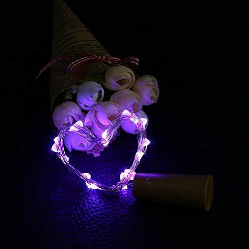 JHJUH 10pcs/lot Battery Operated Cork Light for Wine Bottles Cork Shape String Light 20 LED Warm White Fairy Lights for Birthday Gifts-Purple_2m20leds