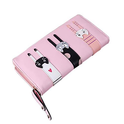 Dames Portemonnee Mini Leuke Kat Portemonnee Munt Bifold Portemonnee Koppelingtas Grote Capaciteit Lange portemonnee met Rits