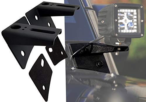 GS Power A Pillar Windshield Hinge Mount Brackets Compatible with 2007-2018 Jeep Wrangler JK for Mounting Auxiliary Off-Road LED HID or Halogen Fog & Work Light