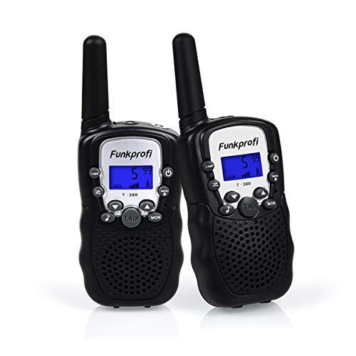 Funkprofi 2X Walkie Talkie Set für Kinder T-388 Funkgeräte 1-3KM Reichweite PMR446 8 Kanal mit Taschenlampe Geschenk für Jungen Mädchen ab 3 Jahre alt(Schwarz)
