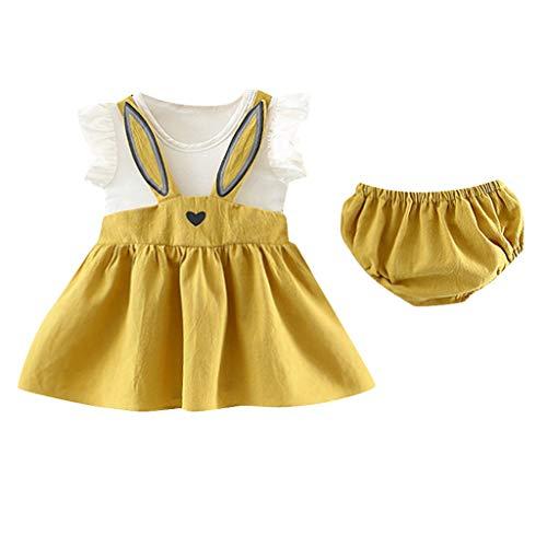 LEXUPE Neugeborenes Kleinkind Baby Mädchen Set ärmellose Cartoon Kaninchen Hase Ohr Kleid Shorts(Gelb,80/L)