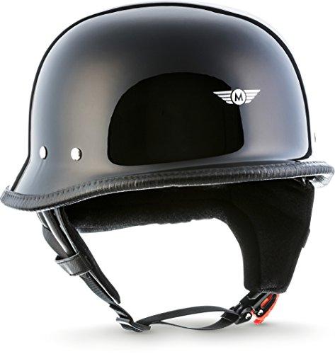 "Moto Helmets® D33 ""Black"" · Brain-Cap · Halbschale Jet-Helm Motorrad-Helm Roller-Helm Scooter-Helm Bobber Mofa-Helm Chopper Retro Cruiser Vintage Pilot Biker · Schnellverschluss Tasche XL (61-62cm)"