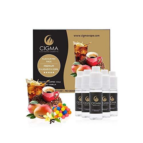 CIGMA 5 X 10ml E-Liquid Geschmack Mix Pack, 0mg (Ohne Nikotin) Kaugummi - Cola - Kaffee - Mango - Vanille - Premium Formel - VG & PG Mix - Hergestellt für E-Zigaretten und E-Shisha