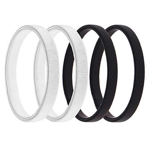 Nifocc - Juego de 2 pares de soportes de manga para camisa, ligas elásticas de metal para fijar mangas largas, color negro y plateado