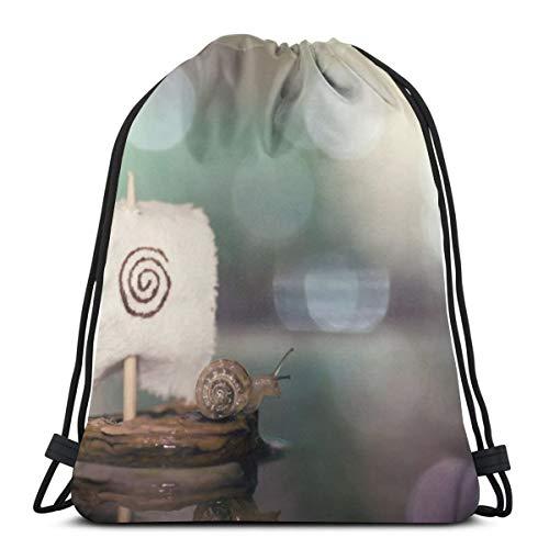 Rasyko Bokeh Caracol acuático barco personalizado cordón bolsa de gimnasio mochila de viaje ligera gimnasio para hombre y mujer 42,92 x 35,56 cm