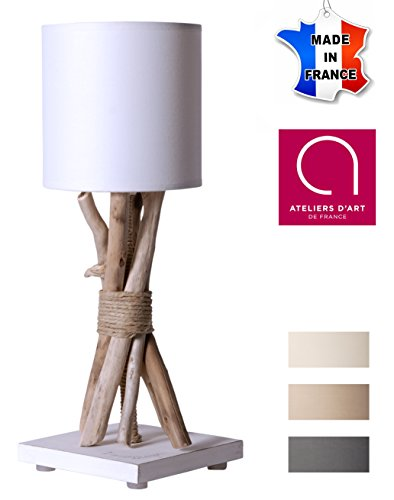 Lampe de chevet/de table en bois flotté ECUME - Fabriqué à la main par un artisan Français - 100% matériaux naturels - 35x13 cm