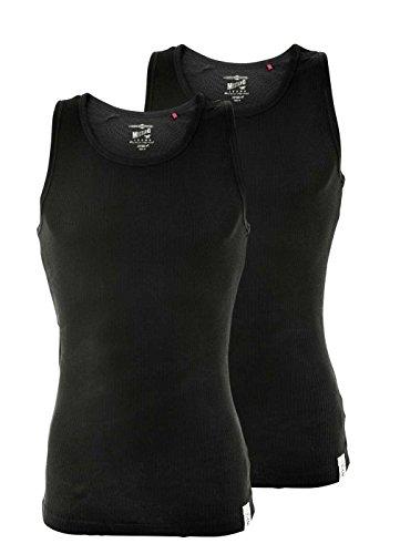 MUSTANG Herren Unterhemd 2er Pack, Tanktop, Doppelripp, True Denim, S-XXL: Farbe: Schwarz | Größe: S (Gr. Small)
