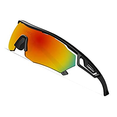 TOREGE Polarized Sports Sunglasses with 3 changeable Lenses for Men Women Cycling Running Driving Fishing Golf Glasses TR05 (Black&Black&Red Lens)