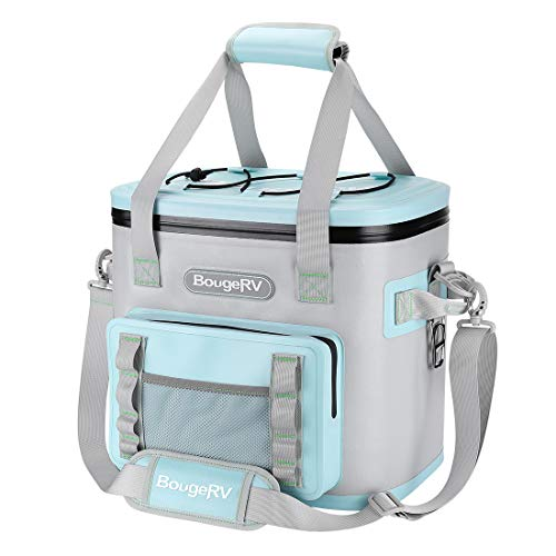 BougeRV Soft Cooler, 30 Cans Portable Soft Sided Insulated Leak Proof Waterproof Cooler Bag, Outdoor Accessories for Gift, Camping, Boating, Road Trip, Beach (Gentle Blue)