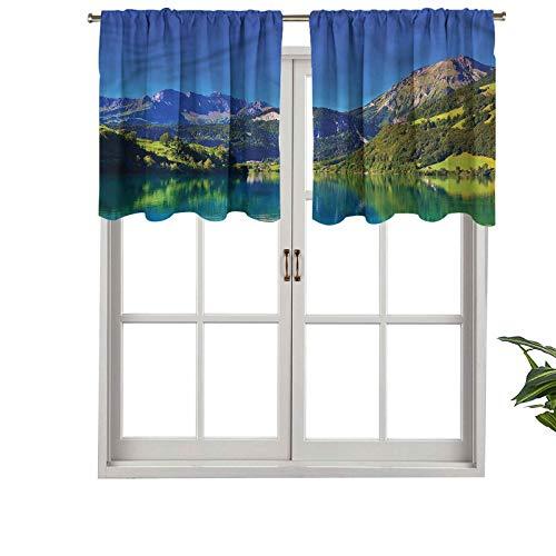 Hiiiman Cenefa recta, panel de cortina de alta calidad, bolsillo para barra suiza, Alp Mountain Meadow, juego de 2, 54 x 24 pulgadas, ideal para cualquier habitación y dormitorio
