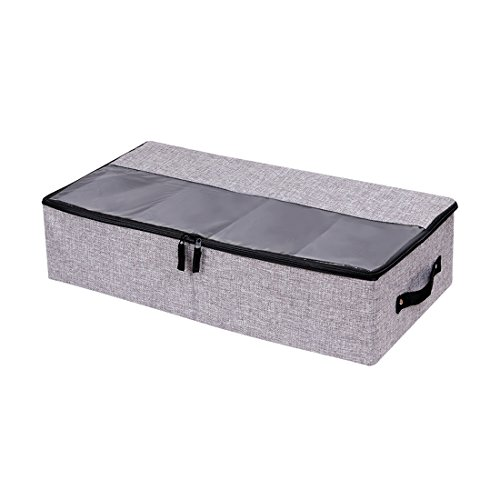 (Dark Grey) - Clothes Shoes Organiser Multifunction Foldable Under the Bed Storage Box with Dust-proof Lid 4 Compartment