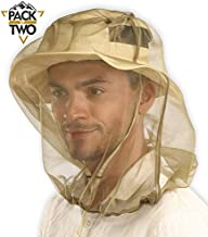 Mosquito Head Net Mesh - Bug/Insect Face Netting with Extra Fine Fly Screen Holes for Men & Women - Ultimate Outdoor Protection/Shield from Bugs, Gnats, No-See-Ums & Midges. Chemical Free (2 Pack)