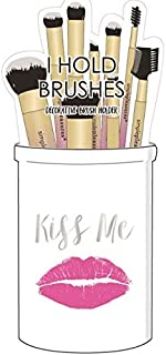 Decorative Ceramic Makeup Brush Holder - Cosmetic Storage Organizer With Fun Saying For Makeup Brushes And Accessories - White Multi-Purpose Cosmetics Cup For Bathroom Vanity Countertop - Kiss Me