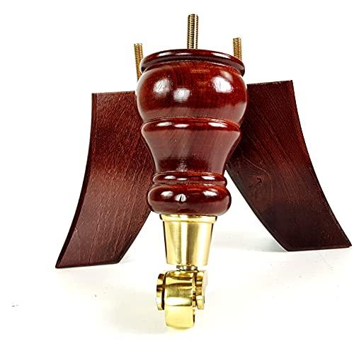 Knightsbrandnu2u 4 patas de madera de caoba de repuesto para sofás, sillas, taburetes, conjuntos M8 (8 mm) CWC802