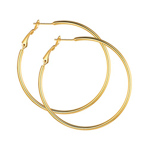 Golden Earrings Hoops 50mm Women Twinkly Round Circle