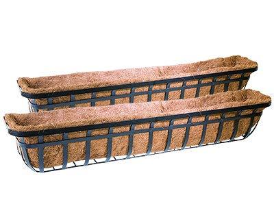 Panacea 88559 Flat Iron Series Planter Boxes, Black, 48' L, Pack of 2