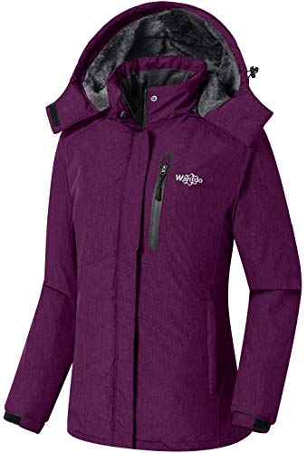 Wantdo Damen Winter Skijacke Warm Fleece Mantel Berg Snowboardjacke Outdoor Kapuzen Windbreaker Jacken Ferizeit Wandern Jacke Lila XXL