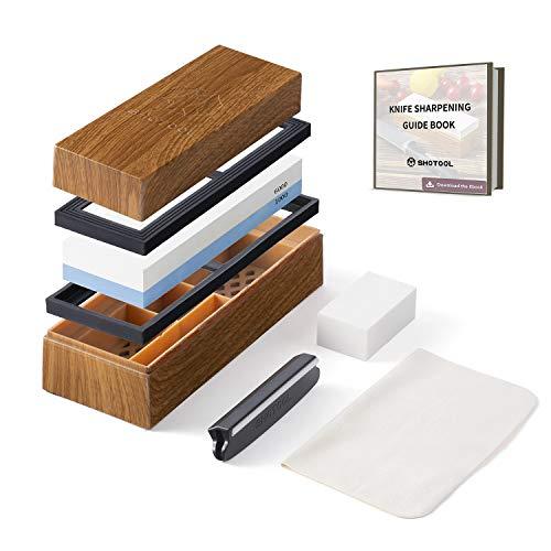 Shotool Sharpening Stone 1000/6000 Git Knife Whetstone 2 Side Waterstone Set Best Sharpener for Straight Razor with Non Slip Antique Customized ABS Box