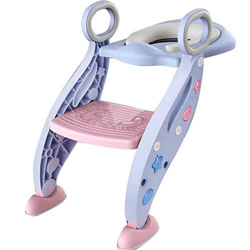 N \ A Azul Cojin de Inodoro Adaptador Taza WC con Escalera,Capacidad de Carga 75kg,Seguro, Antideslizante Asiento WC Roca para Niño
