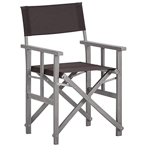 Festnight Chaise de Jardin Chaise de metteur en scène Bois Massif d'acacia 55 x 56 x 88 cm