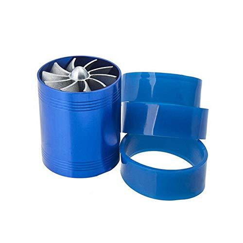 Turbocompressore per Auto, Ventola di aspirazione Aria Dual Turbo per Auto Ventola di sovralimentazione Carburante Risparmiatore di Gas Turbina Turbo Ventola di aspirazione-Blu