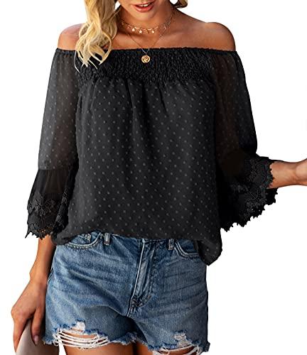Bequemer Laden Damen Sommer Off Shoulder Oberteile 3/4 Ausgestellte Ärmel Polka Dot Casual Tuniken Bluse T-Shirt Top,Schwarz,XL