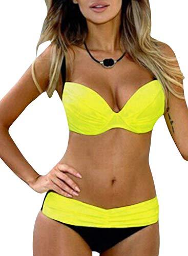 Aleumdr Damen Bikini Set Push up Badeanzug Zweiteilige Bandeau Bademode mit verstellbaren Träger, Gelb, Large(EU42-44)