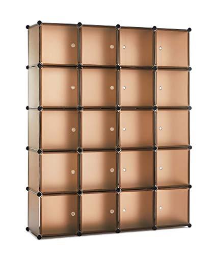 Meerveil Kunststoff Kleiderschrank Garderobenschrank Steckregal DIY Modular Schrank Regalsystem mit 2 Kleiderstange, für Kleidung Schuhe Spielzeug und Bücher (kaffeebraun, 20 Kubus)