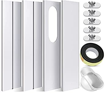 SIKADEER Universal Window Seal Kit for Portable Air Conditioner of Exhaust Hose 5.1 Inch Diameter with Coupler Adjustable AC Vent Kit PVC Seal for Sliding Window
