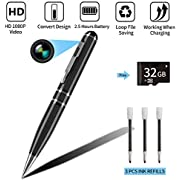 Hidden Camera, Hmount HD 1080P Spy Cam Pen, Mini Nanny Video Recorder, Support Loop Recording, Battery Powered with 32GB Memory Card for Business Conference and Security
