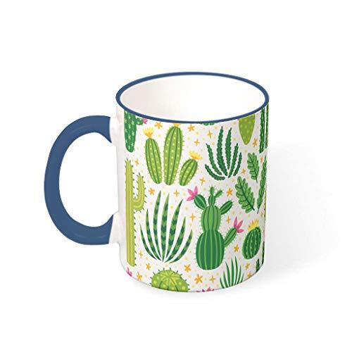 OwlOwlfan Taza de cerámica de color de planta de cactus con mango para el hogar, oficina, cumpleaños, festival, regalo para niños y niñas, azul medianoche 330 ml