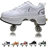 Women's Retractable Roller Skates Outdoor Girls Kick Roller Shoes Men Deformation Sneakers,White Silver (白银)-EU39/US7.5
