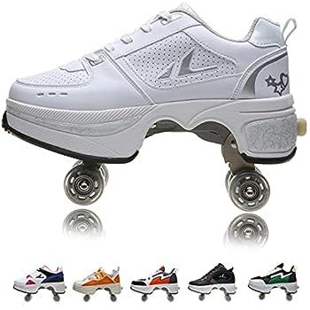 Women s Retractable Roller Skates Outdoor Girls Kick Roller Shoes Men Deformation Sneakers,White Silver  白银 -EU41/US9